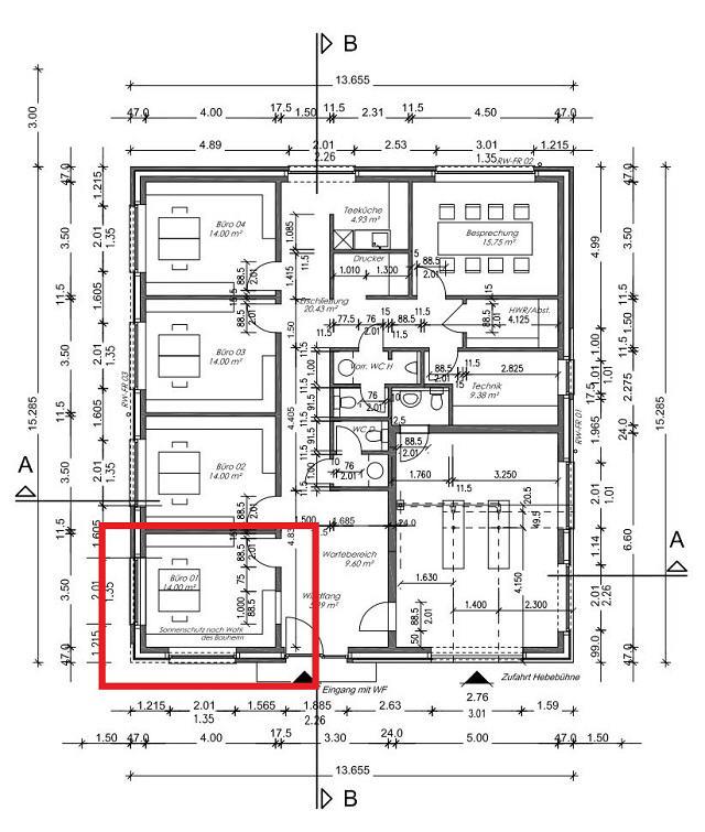 AB SOFORT ZU VERMIETEN: Einzelbüro (01) im Neubau eines Bürogebäudes in Stade