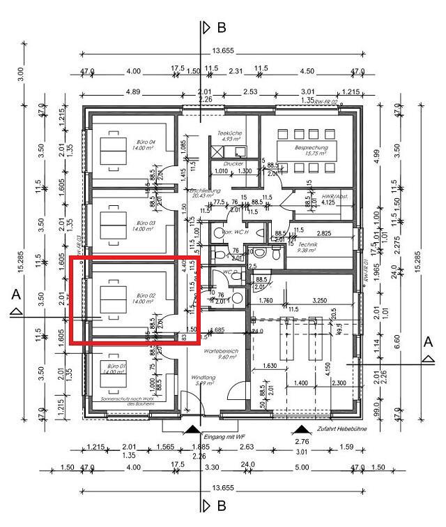AB SOFORT ZU VERMIETEN: Einzelbüro (02) im Neubau eines Bürogebäudes in Stade